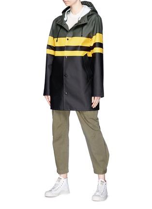 Front View - Click To Enlarge - Stutterheim - Stripe colourblock unisex raincoat