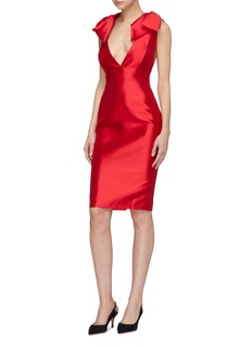 Leal Daccarett 'Scala' bow shoulder silk-wool satin V-neck dress