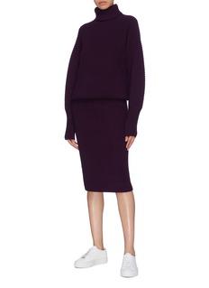 VICTORIA, VICTORIA BECKHAM Wool ottoman knit turtleneck dress
