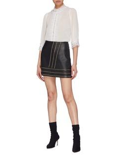 alice + olivia 'Mira' embellished ruffle trim organdy blouse