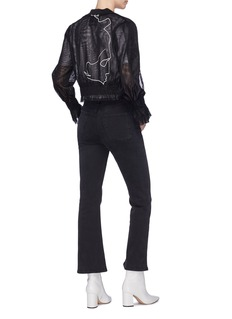 Quibe  Abstract embroidered flared cuff mesh bomber jacket