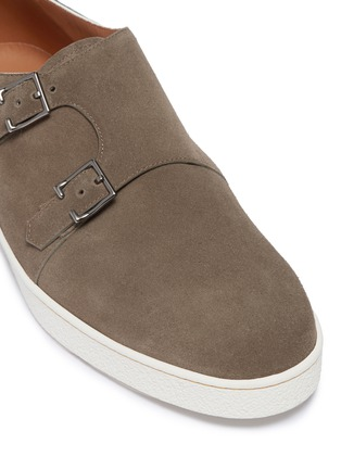Detail View - Click To Enlarge - JOHN LOBB - 'Holme' double monk strap suede sneakers