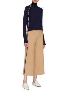 VICTORIA, VICTORIA BECKHAM Asymmetric ruffle trim wool turtleneck sweater