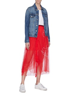 Quibe  Abstract embroidered ruched mesh skirt