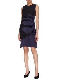 VICTORIA, VICTORIA BECKHAM Knot front colourblock silk satin sleeveless dress