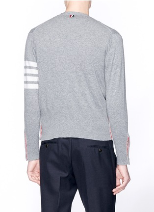 Back View - Click To Enlarge - THOM BROWNE - Intarsia stripe cashmere V-neck cardigan