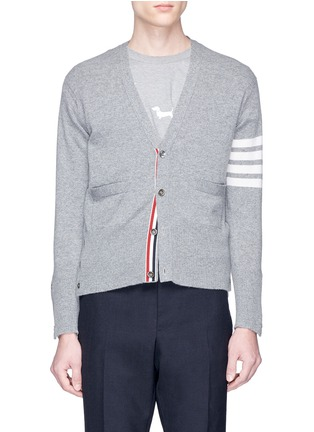 Main View - Click To Enlarge - THOM BROWNE - Intarsia stripe cashmere V-neck cardigan