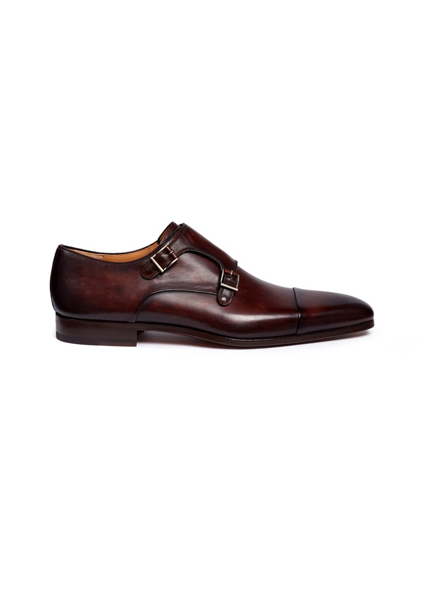 Leather double monk strap shoes by Magnanni