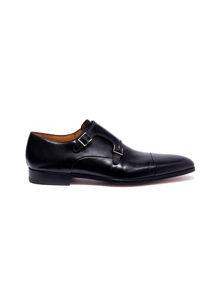 Main View - Click To Enlarge - MAGNANNI - Double monk strap leather shoes