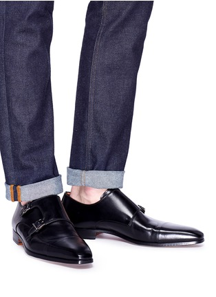 Figure View - Click To Enlarge - MAGNANNI - Double monk strap leather shoes