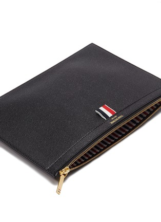 Detail View - Click To Enlarge - Thom Browne - Small pebble grain leather zip pouch