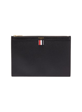 Main View - Click To Enlarge - Thom Browne - Small pebble grain leather zip pouch
