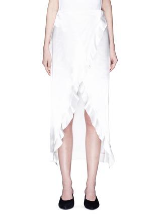 Main View - Click To Enlarge - Elissa McGowan - 'Raw Wave' ruffle satin mock wrap skirt