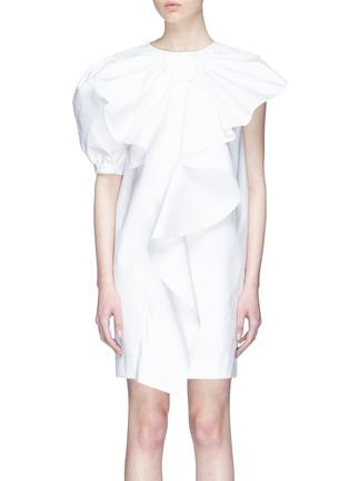 Main View - Click To Enlarge - Xiao Li - Asymmetric sleeve ruffle drape poplin dress