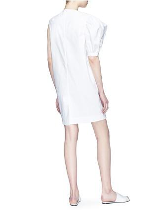 Figure View - Click To Enlarge - Xiao Li - Asymmetric sleeve ruffle drape poplin dress