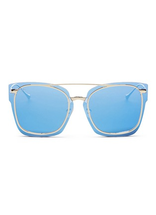 Main View - Click To Enlarge - For Art's Sake - 'Boxx' mounted lens metal mirror square sunglasses