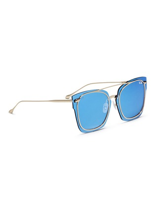 Figure View - Click To Enlarge - For Art's Sake - 'Boxx' mounted lens metal mirror square sunglasses