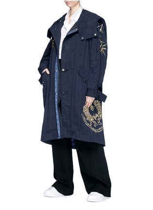 Detail View - Click To Enlarge - Angel Chen - Tiger leaf embroidered unisex windbreaker jacket