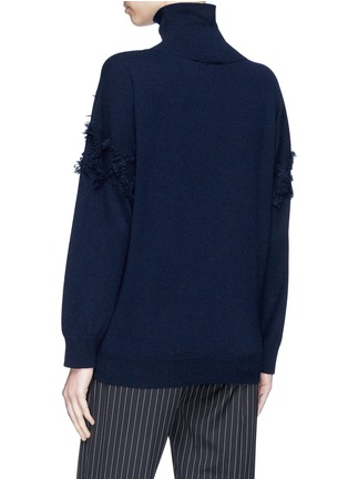 Back View - Click To Enlarge - Matilde - Frayed diamond intarsia cashmere turtleneck sweater