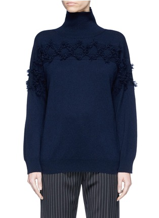 Main View - Click To Enlarge - Matilde - Frayed diamond intarsia cashmere turtleneck sweater