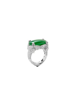 Figure View - Click To Enlarge - SAMUEL KUNG - Diamond sapphire jade 18k white gold ring