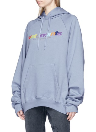 Front View - Click To Enlarge - Vetements - Logo print oversized hoodie