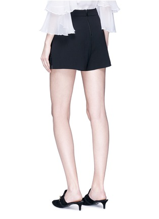 Back View - Click To Enlarge - alice + olivia - 'Ronan' floral guipure lace godet crepe shorts