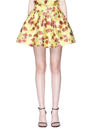 Main View - Click To Enlarge - alice + olivia - 'Fizer' box pleat floral jacquard skirt