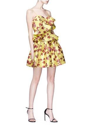 Figure View - Click To Enlarge - alice + olivia - 'Juliane' ruffle floral jacquard peplum top