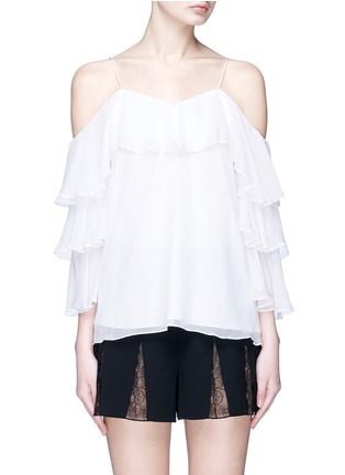 Main View - Click To Enlarge - alice + olivia - 'Marylee' ruffle off-shoulder silk crepe blouse