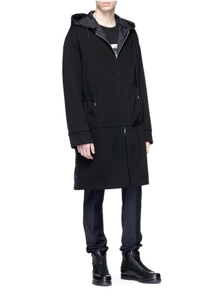 Front View - Click To Enlarge - Juun.J - 'Construct' slogan photographic print hooded coat
