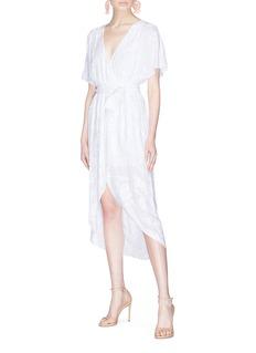 alice + olivia 'Clarine' paisley embroidered mock wrap dress
