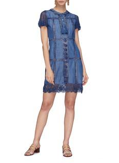 alice + olivia 'Tona' crochet lace patchwork chambray dress