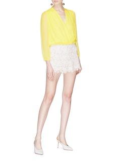 alice + olivia 'Trista' cross front silk blouse