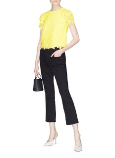 alice + olivia 'Franca' floral guipure lace T-shirt