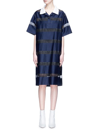 Main View - Click To Enlarge - YCH - Slogan embroidered split back stripe organdy polo dress