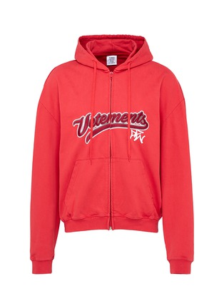 Main View - Click To Enlarge - Vetements - Logo embroidered zip hoodie