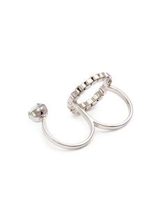 Joomi Lim 'Grandmistress Flash' chain hoop two finger ring
