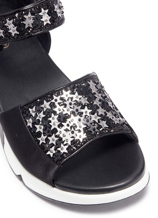 Detail View - Click To Enlarge - Ash - 'Lotus Star' paillette satin sandals