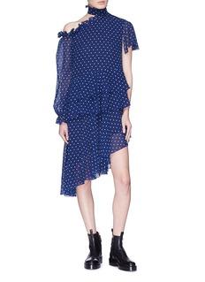Sandy Liang 'Midol' cutout shoulder lighter polka dot print silk dress