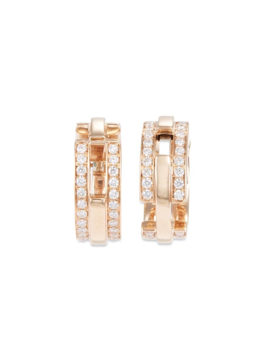 Diamond 18k rose gold tiered clip hoop earrings