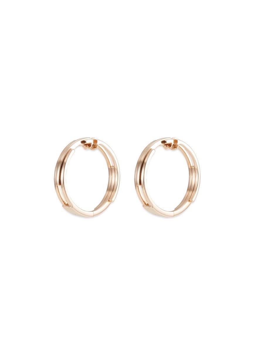 18k rose gold tiered hoop earrings