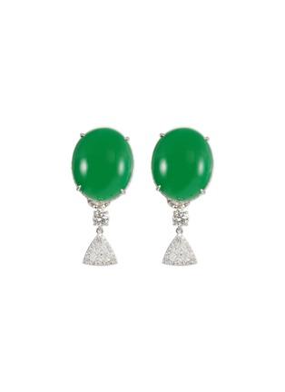 Main View - Click To Enlarge - SAMUEL KUNG - Diamond jade 18k white gold drop earrings