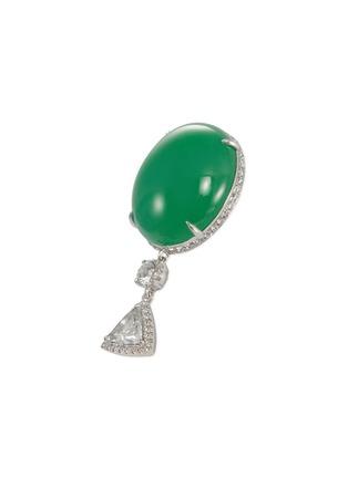 Figure View - Click To Enlarge - SAMUEL KUNG - Diamond jade 18k white gold drop earrings