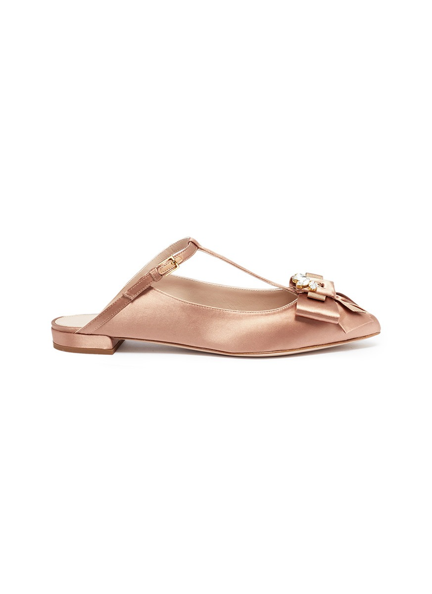 Duckie glass crystal bow satin mules by Stuart Weitzman
