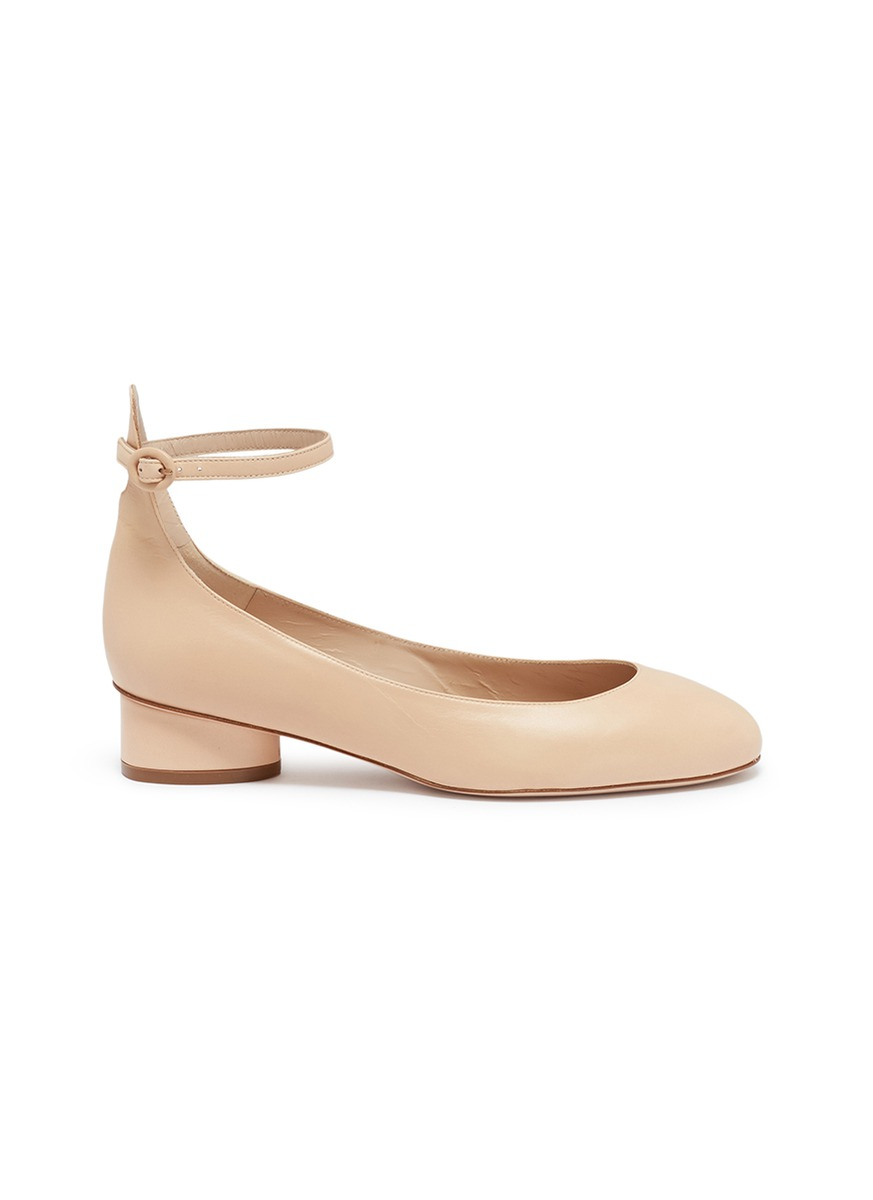 Polly ankle strap leather ballet pumps by Stuart Weitzman