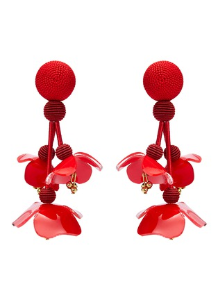 Main View - Click To Enlarge - Oscar de la Renta - Threaded floral clip drop earrings
