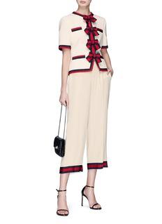 Gucci Web stripe ribbon cuff crepe pyjama culottes