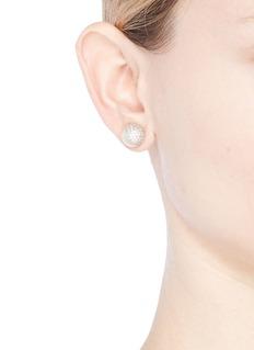 CZ by Kenneth Jay Lane Cubic zirconia shell pearl stud earrings