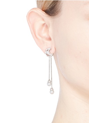 Figure View - Click To Enlarge - CZ by Kenneth Jay Lane - Cubic zirconia moon stud glass pearl drop earrings